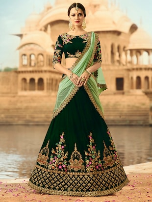 green velvet flared lehenga