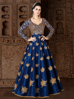 blue silk embroidered semi-stitched suit