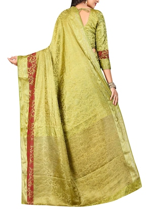 mehandi cotton silk banarasi saree with blouse - 14799723 - Standard Image - 2