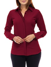 Maroon solid shirt -  online shopping for Shirts