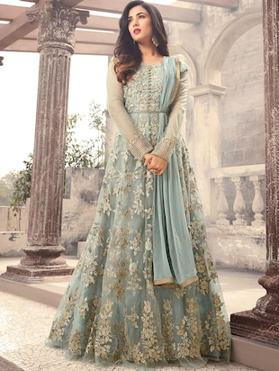 sky blue net semi-stitched flared suit