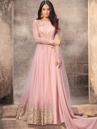 pink net semi-stitched flared suit