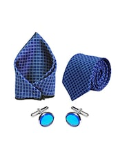 blue micro fiber tie with cufflinks and handkerchief -  online shopping for Ties