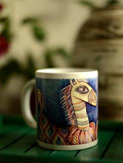Art Printed Coffee Mug With Horse Player By Apu Mookherjee - Artfairie