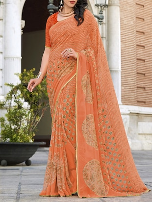 orange georgette printed saree with blouse