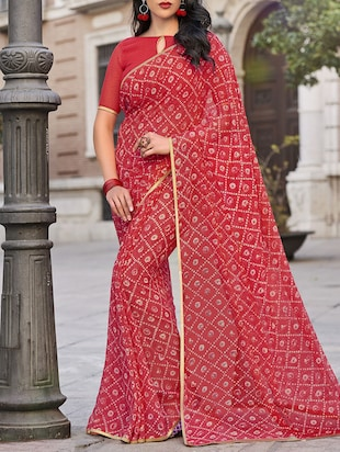 red georgette printed saree with blouse