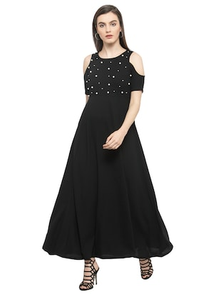 black pearl embellished maxi dress