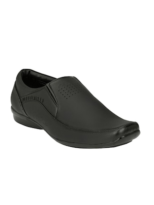 black Leather formal slip on