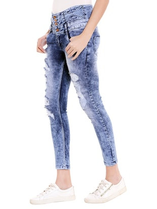 blue denim distressed jeans - 14848349 - Standard Image - 2