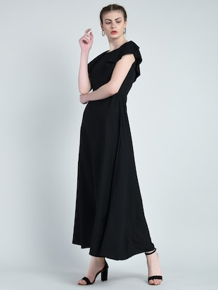 boat neck flared gown - 14848876 - Standard Image - 2