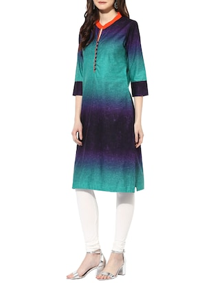 blue cotton straight kurta - 14853031 - Standard Image - 2