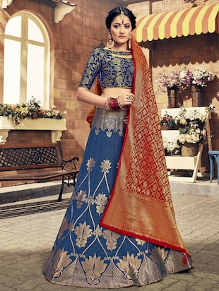 blue art silk panelled lehenga