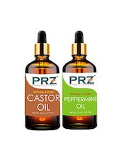 PRZ Combo Of Castor Carrier Oil & Peppermint Oil For Hair Growth & Skin Treatment (Each 15ML ) 100% Pure Natural Oil - By