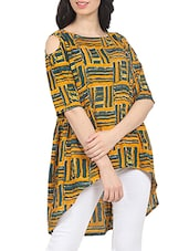 yellow printed asymmetrical tunic -  online shopping for Tunics