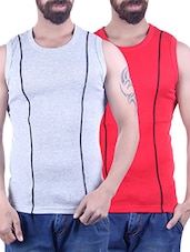 grey & red cotton vest -  online shopping for Vests