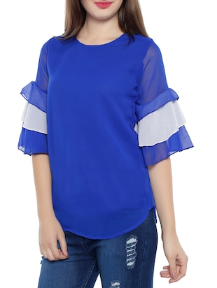 solid blue poly crepe top - 14864276 - Standard Image - 2