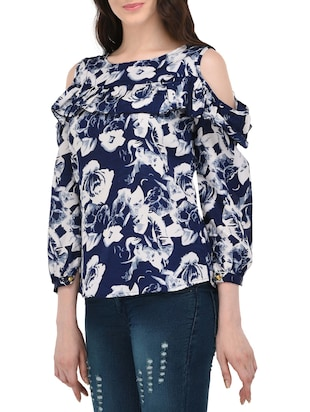 blue floral ruffled top - 14864292 - Standard Image - 2