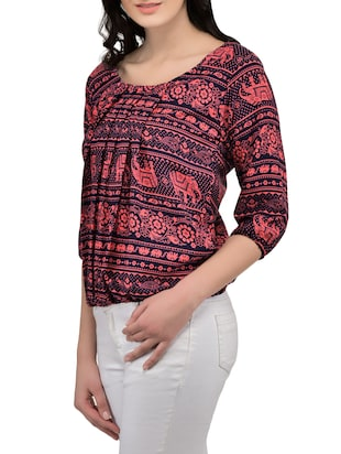 red printed blouson top - 14864311 - Standard Image - 2
