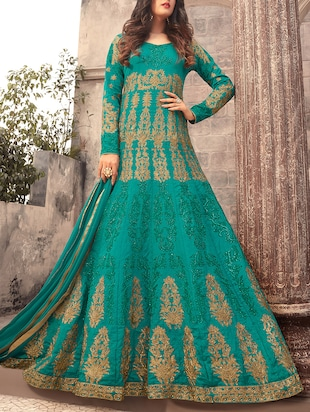 green silk anarkali suits semistitched suit