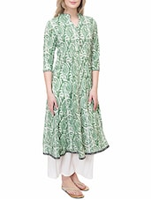 green cotton anarkali kurta -  online shopping for kurtas