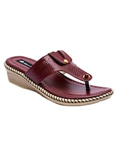 maroon leatherette slippers -  online shopping for Flip flops