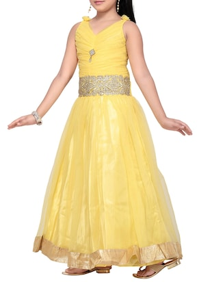 yellow net party gown - 14873211 - Standard Image - 2