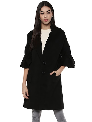 solid black trench/overcoat - 14876080 - Standard Image - 1