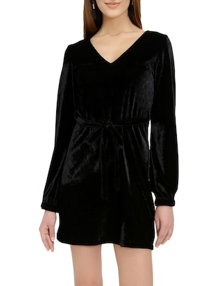 black solid belted dress - 14876543 - Standard Image - 2