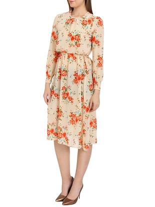 beige printed blouson dress - 14876545 - Standard Image - 2