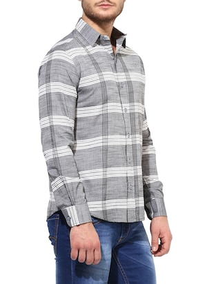 grey cotton casual shirt - 14878824 - Standard Image - 2