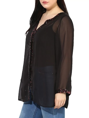 sheer sequined plus tunic - 14882885 - Standard Image - 2
