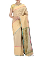 beige poly cotton woven saree with blouse -  online shopping for Sarees