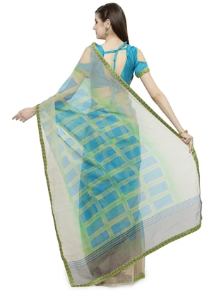 Blue  printed saree with blouse - 14884255 - Standard Image - 2