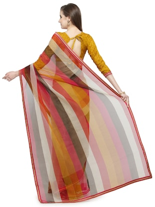 Beige printed saree with blouse - 14884265 - Standard Image - 2