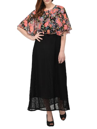 Black floral layered maxi dress -  online shopping for Dresses