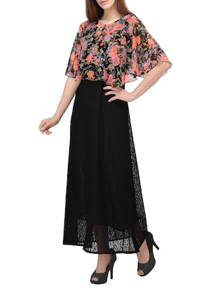 maxi dress with floral cape - 14884741 - Standard Image - 2