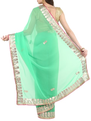 gota patti chiffon saree with blouse - 14884757 - Standard Image - 2