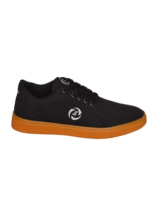 black leatherette lace up sneaker - 14885090 - Standard Image - 2