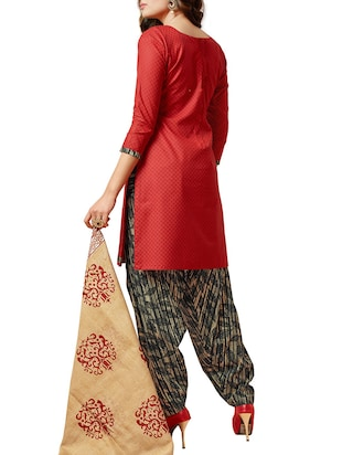 red cotton churidaar suits unstitched suit - 14885349 - Standard Image - 2