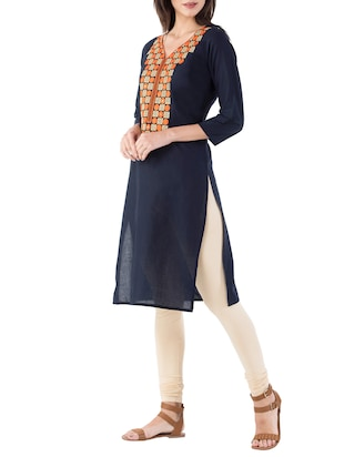 blue cotton straight kurta - 14885575 - Standard Image - 2