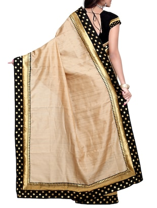beige matka silk bordered saree with blouse - 14886424 - Standard Image - 2