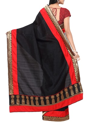 black matka silk bordered saree with blouse - 14886433 - Standard Image - 2