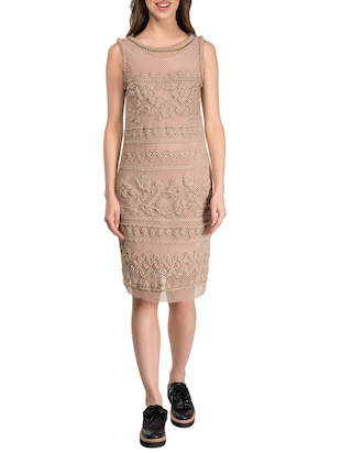 beige cotton sheath dress
