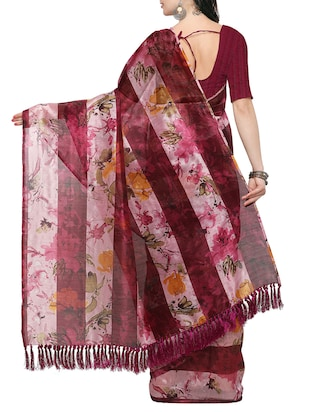 maroon tussar silk saree with blouse - 14886936 - Standard Image - 2