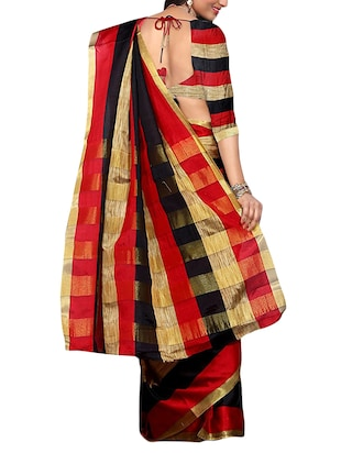 red woven saree with blouse - 14887239 - Standard Image - 2