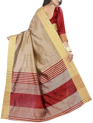 beige cotton bordered saree with blouse - 14887259 - Standard Image - 2