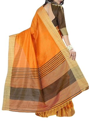 yellow cotton bordered saree with blouse - 14887267 - Standard Image - 2