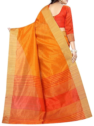 yellow cotton bordered saree with blouse - 14887268 - Standard Image - 2