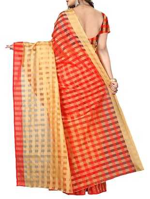 red cotton silk woven saree with blouse - 14887276 - Standard Image - 2