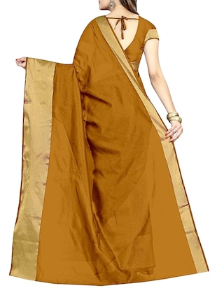 mustard cotton silk bordered saree with blouse - 14887306 - Standard Image - 2